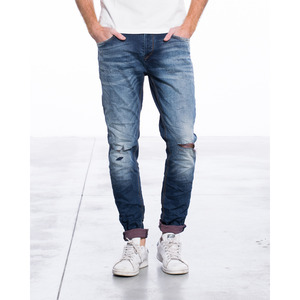 [지아니루포]Slim Fit Stone Wash Knee Rip S877 데님